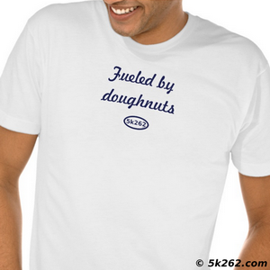 funny running shirt image: Fueled by donuts