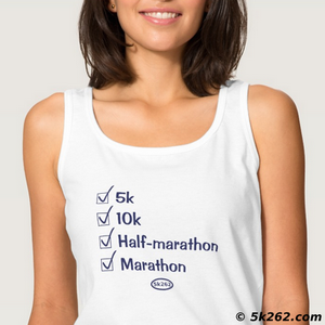 marathon running shirt picture: Checked off: 5k, 10k, half marathon, full marathon